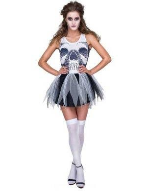 Skeleton Print Tutu Dress Sexy Halloween Costume