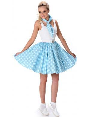 Women's Blue 1950's Skirt with White Polka Dots
