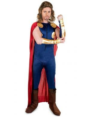 Viking Legend Men's Blue Jumpsuit With Red Cape