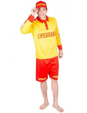 Beach Rescue Men's Yellow And Red Lifeguard Costume