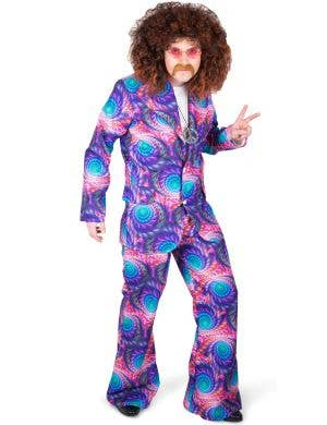 Retro 70's Men's Purple Boho Suit Costume