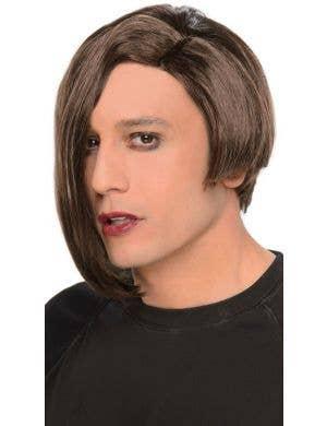 Asymmetric Men's Blunt Cut Punk Brown Costume Wig
