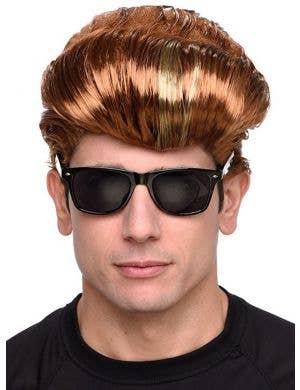 Boy Band Flat Top Auburn Men's Costume Wig