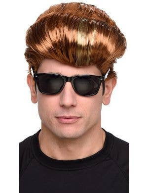 Boy Band Flat Top Auburn Men's Costume Wig