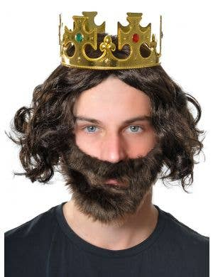 His Majesty Brown Wig, Beard and Crown Accessory Set