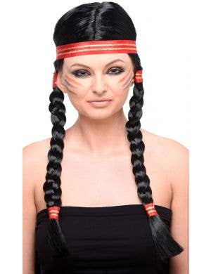 Plaited Black American Indian Women's Costume Wig