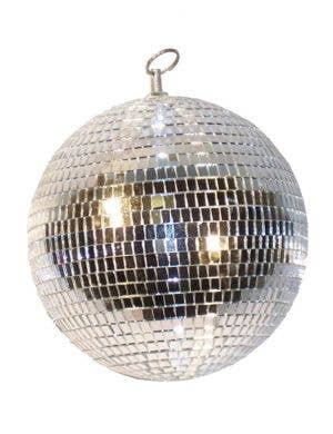 Retro Silver Mirrored Large Disco Ball Front View
