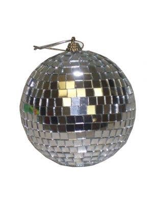 Retro Silver Mirrored Mini Disco Ball Front View