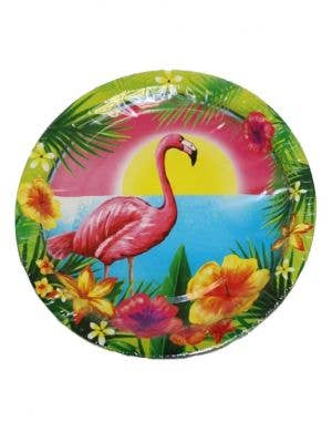 Hawaiian Themed Flamingo Party Plates - 10 Pack