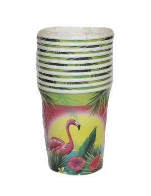 Hawaiian Themed Flamingo Party Cups - 10 Pack