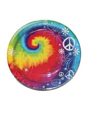 Rainbow Hippie Paper Party Plates Front View