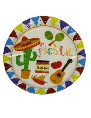 Mexican Themed White Party Plates - 10 Pack