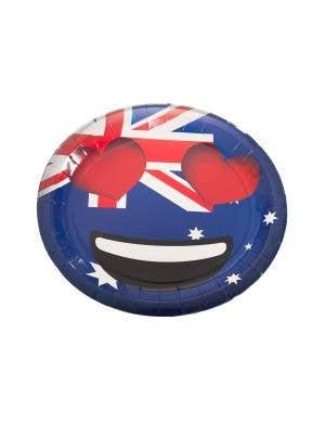 Heart Eyes Emoticon Emoji Aussie Flag Australia Day Large Paper Plates