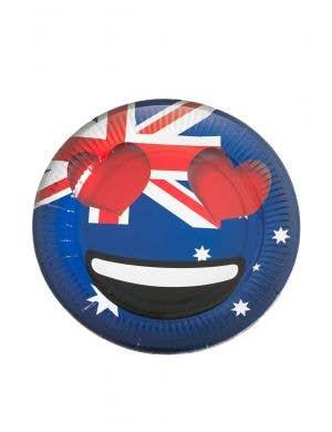 Heart Eyes Emoticon Australia Day Round Dinner Paper Plates