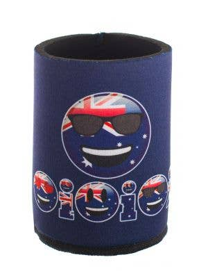 Aussie Flag Australia Day Blue Stubbie Holder Cooler With Cool Dude Emoticon Face