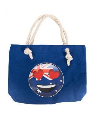 Navy Blue Australia Day Heart Eyes Emoji Face Flag Beach Bag
