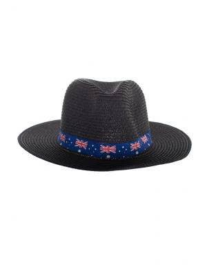 Black Coloured Wide Brim Australia Flag Sun Hat