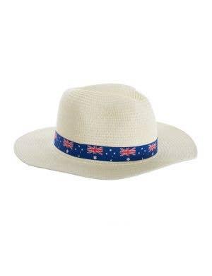 Cream Coloured Wide Brim Australia Flag Sun Hat