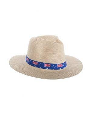 Tan Coloured Wide Brim Australia Flag Sun Hat