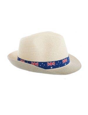 Cream Coloured Trilby Australia Flag Sun Hat