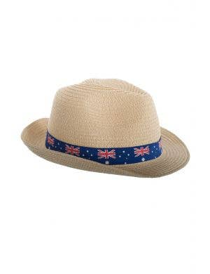 Tan Coloured Trilby Australia Day Hat With Blue Australia Flag Band