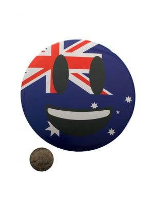 Novelty Jumbo Australia Day Australian Flag Smile Face Emoji Pin On Badge