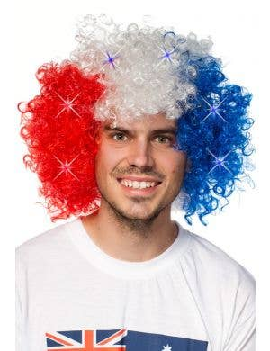 Australia Day Light up Red, White and Blue Afro Wig