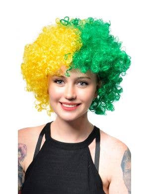 Australia Day Green and Gold Light Up Afro Wig