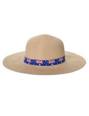Wide Brimmed Beige Straw Aussie Flag Australia Day Hat