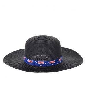 Wide Brimmed Black Straw Aussie Flag Australia Day Hat