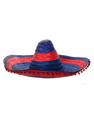 Aussie Sombrero in Red and Blue with Pom Poms
