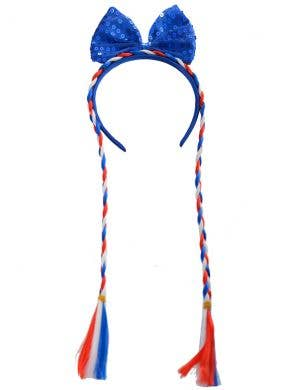 Aussie Red, White and Blue Plaits with Bow Australia Day Accessory