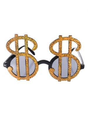 Sparkling Gold Dollar Sign Novelty Sunglasses