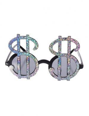 Sparkling Silver Dollar Sign Novelty Sunglasses