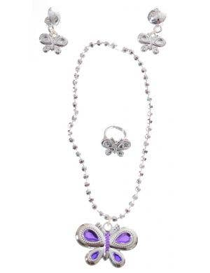 Butterfly Silver Girls Jewellery Costume Accessory Set