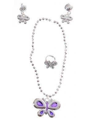 Butterfly Silver Girls Jewellery Costume Accessory Set