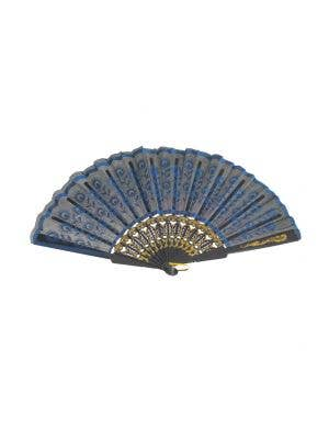 Beautiful Black And Blue Floral Geisha Hand Held Fan With Gold Etched Detail Costume Accessory