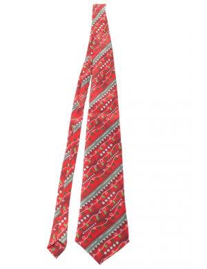 Adult's Red and Green Christmas Tie with Christmas Lights
