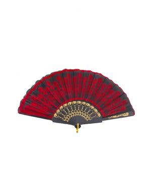 Beautiful Black And Red Floral Geisha Hand Held Fan With Gold Embossed Detail Costume Accessory