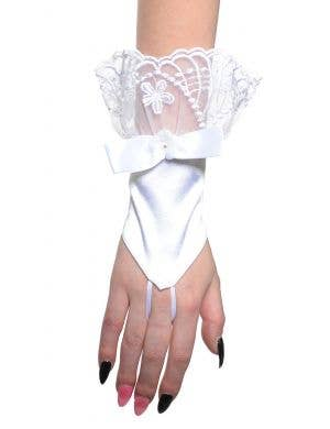 Elegant White Satin and Lace Fingerless Women's Costume Gloves