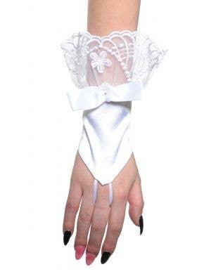Elegant White Satin and Lace Fingerless Women's Costume Gloves