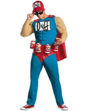 Men's Duffman Simpsons Fancy Dress Costume Front