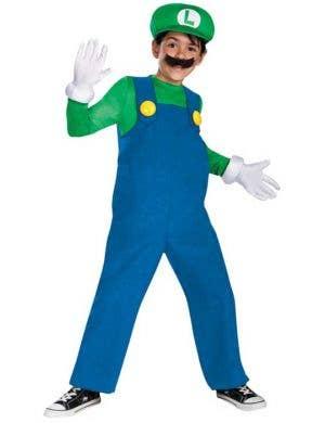 Luigi Boy's Super Mario Video Game Costume Front View