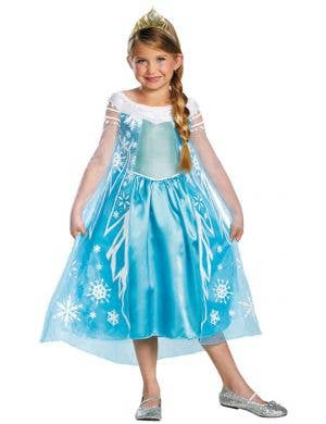 Frozen Girl's Disney Elsa Costume Front View