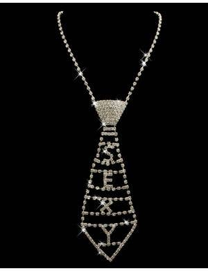 Rhinestone 'SEXY' Necktie Necklace