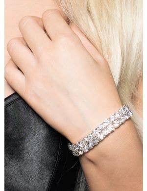 Dazzling Rhinestone Silver Costume Bracelet