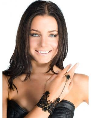 Black Lace and Crystal Slave Bracelet
