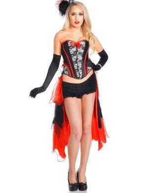 Women's Red Burlesque Costume Corset Set Front View
