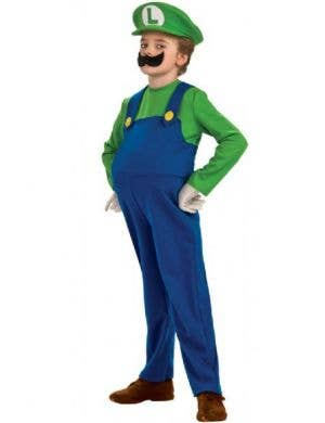 Luigi Boy's Deluxe Super Mario Video Game Costume Front