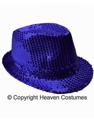 Sequined Blue 1920's Fedora Costume Hat
